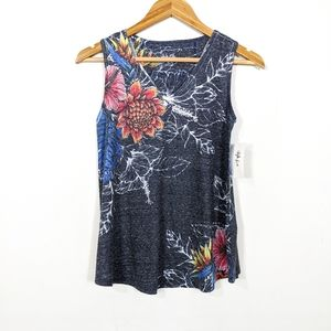 Style & Co Gray Floral Sleeveless Graphic T Shirt